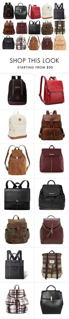 """""""Spencer Hastings inspired backpacks"""" by liarsstyle ❤ liked on Polyvore featuring JanSport, Aéropostale, BAGGU, Red Herring, Monki, Dorothy Perkins, Sole Society, Avon, Bondka and Under One Sky"""