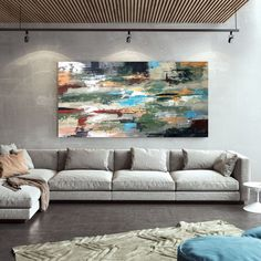 Extra Large Wall Art Handmade Abstract Painting Office Wall image 0 Extra Large Wall Art, Office Walls, Large Painting, Acrylic Colors, Cotton Canvas, Wall Decor, Texture, Abstract, Artist