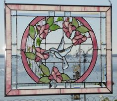 "16 x 20"" Pink ""Hummingbird with Morning Glory"" Stained Glass Window Bevel Clus 