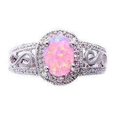 Synthetic Oval Pink Opal Sterling Silver Filigree Shank Women's Halo Wedding Ring FlameReflection