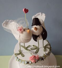 "NatiQuill Blog: Wedding Cake Toppers "" Love Birds"""