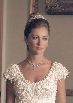 A young queen Paola, wearing Queen Elisabeth's diamond bandeau tiara.
