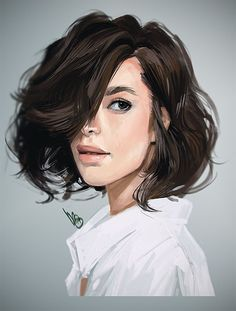 Artist: Mel Milton {contemporary figurative character illustrator beautiful female brunette woman portrait photoshop digital painting #loveart #Melmade #dookin}