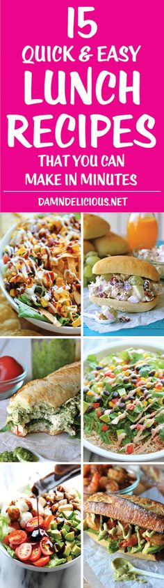 15 Quick and Easy Lunch Recipes - Easy, speedy recipes that you can whip up in minutes and bring to work - no more ordering out and overspending on lunch!