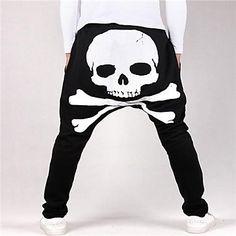 Printing Skull Print Harem Pants Casual Sport Pants Men Trousers Casual Pants – USD $ 27.29