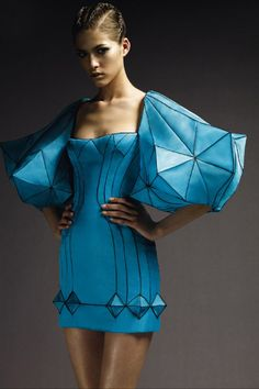 Loving the futuristic hexagon/expressive shape fashion...