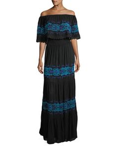 Off-the-Shoulder+Ruffle-Trim+Maxi+Dress+by+Chelsea+&+Theodore+at+Neiman+Marcus+Last+Call.