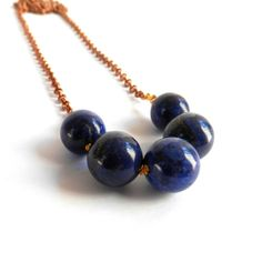 Lapis Lazuli Swing necklace by ginnyandjudes on Etsy