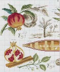 frutti trtopicali-3 Cross Stitch Fruit, Cross Stitch Kitchen, Cross Stitch Flowers, Cross Stitching, Cross Stitch Embroidery, Embroidery Patterns, Hand Embroidery, Cross Stitch Designs, Cross Stitch Patterns