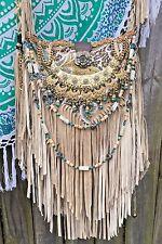 Handmade Sandy Tan Suede Fringe Bag Boho Hobo Hippie Gypsy ~Leather~ Purse B.Joy