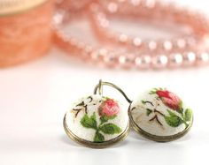 Antique Leverback Earrings - Romantic Roses Red Pink and White Flower with Green Leaves Shabby Cottage Chic Fabric Covered Buttons Earrings