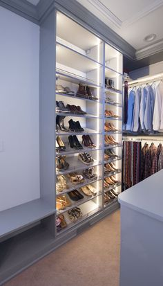 Closet Works: Custom closets systems that serve as a focal point in the home with led lighting, tie rack and slanted shoe shelves to accommodate all dressing and packing needs. Shoe Shelf In Closet, Closet Shelves, Wardrobe Lighting, Closet Lighting, Walk In Wardrobe, Wardrobe Design, Choker Denim, Closet Interior, Closet Works