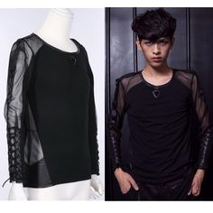 Black Matrix Emo Cyber Goth Punk Long Sleeve T Shirts Clothes Men Women Dark Fashion, Men's Fashion, Fashion Trends, Goth Style, My Style, Samantha King, Cyber Punk, Brown Girl, Punk Rock