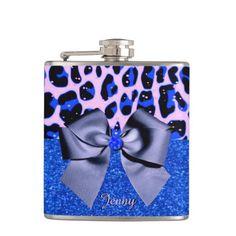 Blue Glitters and Leopard Print Flask by Elenaind #Zazzle
