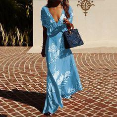 Floral Print Beach Maxi Dress Women Summer VNeck Short Sleeve Boho Dresses Long Party Dress Femme Size S Color Light Blue Floral Print Maxi Dress, Boho Dress, Dress Casual, Bohemian Maxi Dresses, Floral Dresses, Casual Chic, Maxis, Look Kimono, Vestidos Sexy