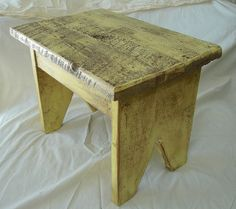 primitive wood stool