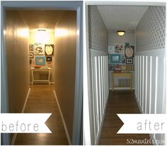 52 Mantels: Hallway Makeover.  WOW.  Never thought a narrow hallway could look this good.