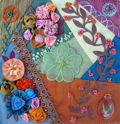 I ❤ crazy quilting, beading & ribbon embroidery . . . Sondra Sweeney, Embellished Block for Marcy Wyatt- Crazy Quilt Divas 2015 Round Robin