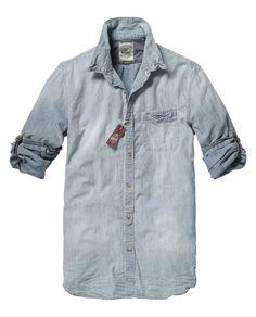 Japanese styled long-sleeved chambray shirt - Shirts - Scotch & Soda Online Shop