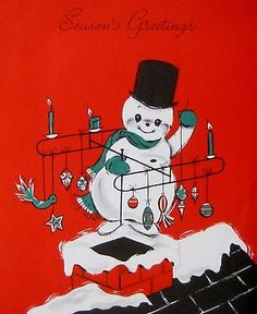 Snowman Mid Century Ornaments TV Antenna Roof Vintage Christmas Greeting Card