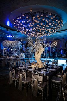 We love this glamorous centerpiece for a winter wedding!