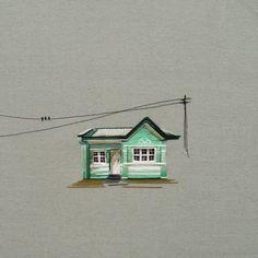 Stephanie K Clark brode avec du fil des illustrations de maisons allant de la…