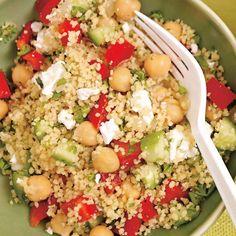 Salade de couscous aux légumes et aux pois chiches