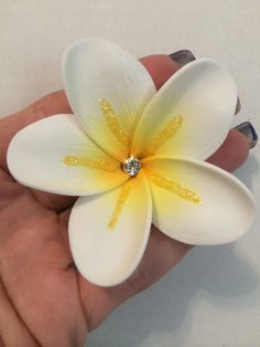 "Custom painted 2.25"" medium plumeria hair clip. $10.  Www.etsy.com/shop/jeepgrl99"