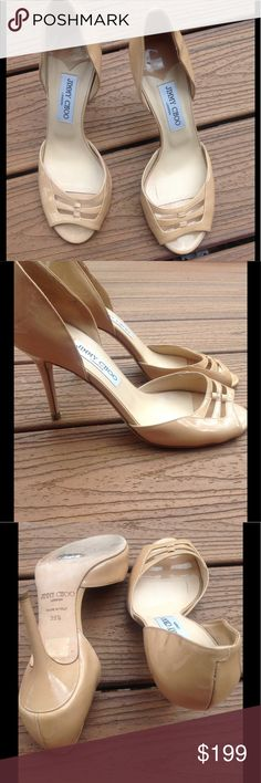 """Jimmy Choo Heels Timeless & sexy Jimmy Choo nude heels.  Features a woven peek-a-boo toe, 4"""" heel and a patent leather sheen.  Great condition!  Lots of other listings to bundle and save:). Jimmy Choo Shoes Heels"""