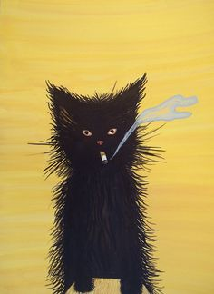 """""""Pretend Cats"""" are not allowed to smoke in the house, because Hair is Flamable..  BY:WALISZEWSKA"""