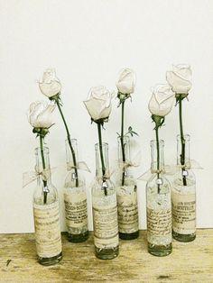 Wedding Vase,Wedding Decor,French Country Wedding,Flower Bottle,Flower Vase,Tall Glass Bottle, Shabby Chic Wedding. $6.00, via Etsy.
