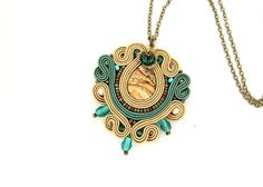 Light brown soutache pendant embroidered haze pendant by pUkke