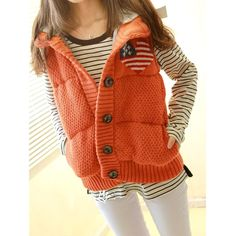 """Leaf の""version of the original single fall/winter warm sweet loving flag decorated with hood knitted waistcoat"