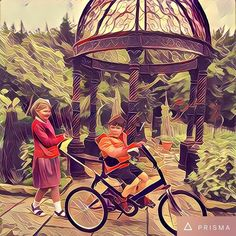 Trike in the garden  Playing around with #prisma #artwork