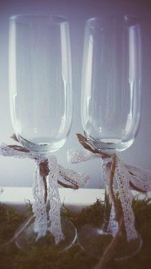 kieliszki na szampana dla pary młodej rustykalny - Szukaj w Google