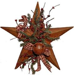 Primitive Rusted Barn Star Decorated with Pine Sprays, Pip Berries, Rusty Tin Bell & Rusty Tin Stars by Factory Direct Craft, http://www.amazon.com/dp/B005SQQTMO/ref=cm_sw_r_pi_dp_6ygaqb0DGKRC8