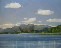 ARTFINDER: Skiddaw from Derwent Water in the Eng... by Malcolm Ludvigsen - One of my favourite places to paint in the Lake District is from the edge of Derwent Water, near where Derwent Water Youth Hostel used to be.   See the photo...
