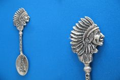 Oklahoma State Indian Oil Derrick Pewter Souvenir Collector Spoon