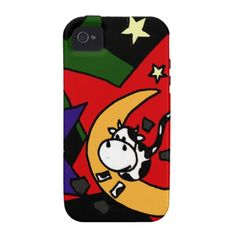 Funny Cow Jumping over Moon iPhone 4/4S Cover #cows #funny #moon #iphone4 #case #art #zazzle #petspower