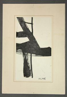 4523: Ink, manner of Franz Kline, Abstract : Lot 4523