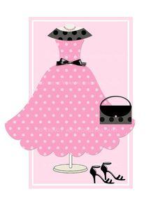Pink Polka Dotted Dress, Purse & Heels