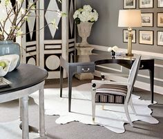 The Isabelle Desk, Drayton Center Table, Malmaison Screen & Castaing Arm Chair from my Collection Jean Louis Deniot, Mary Mcdonald, European Furniture, Top Interior Designers, Center Table, Architectural Digest, Decorating Blogs, Office Decor, Office Table