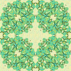 Lemon and Turquoise Leaves and Fruit Wreath fabric by eclectic_house on Spoonflower - custom fabric