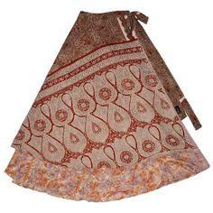 Amazon.com: Magic Skirt - long silk wrap skirt / top / dress, all in one, original silk sari skirts (A729): Clothing
