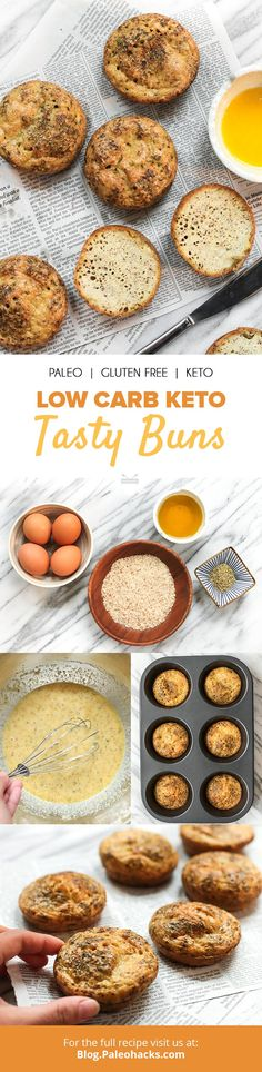 Toast up these keto buns for a curb-craving snack or low carb side dish. They're full of protein, and ready in just 30 minutes to slather in buttery ghee! Almond Recipes, Paleo Recipes, Low Carb Recipes, Real Food Recipes, Snack Recipes, Bread Recipes, Keto Buns, Low Carb Side Dishes, Tasty