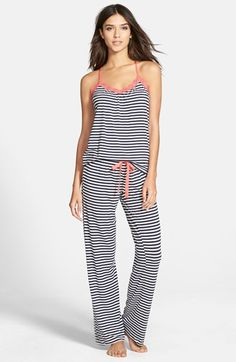 WANT THESE. PJ Salvage Lace Trim Print Jersey Pajamas (Nordstrom Exclusive) available at #Nordstrom