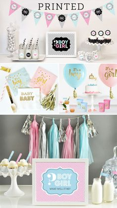 Pink Silver and Blue make the perfect colors for Gender Reveal Parties! Gender Reveal Banner, Gender Reveal Party Decorations, Baby Shower Decorations, Boy Or Girl, Baby Boy, Reveal Parties, Bridesmaid Gifts, Wedding Favors, Etsy Seller