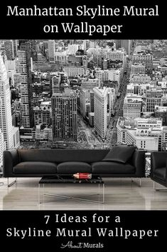 This skyline mural makes you feel like you're taking in the views of Manhattan from a skyscraper window. The black and white photo mural adds a modern glam look and matches most interior decor. Printed on removable wallpaper, it's perfect for a New York bedroom theme. Click to see all 7 cityscape murals perfect for wallpaper diy. City themed bedroom ideas for adults and teens. Windows Wallpaper, View Wallpaper, Bedroom Themes, Bedroom Ideas, New York Bedroom, Cityscape Wallpaper, Photo Mural, Manhattan Skyline, City Streets