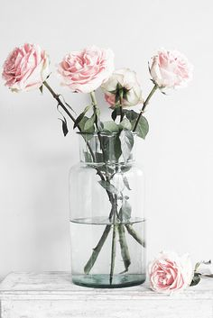 Soft pink roses in a simple glass vase make a beautiful arrangement. Perfect for spring, this bouquet is not too full & will add just the right amount of pink!