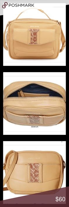 """Cole Haan """"Savannah"""" Cross Body Bag This bag has a detachable strap, as well as a top handle for versatility. It has an exterior pocket with magnetic snap closure. Interior is a beautiful blue, with one zippered interior pocket and one slip interior pocket. L: 10"""", D: 8"""", W: 3.5"""", Drop (without strap): 2"""", Drop with strap: 22""""-26"""". Comes with dust bag. Cole Haan Bags Crossbody Bags"""